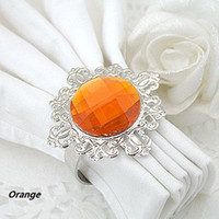 Wholesale Quanlity guarantee Orange Napkin Rings Wedding Bridal Shower Favour Party decor