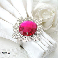 Wholesale Fuchsia Napkin Rings Wedding Bridal Shower Favour Party decor DIY favor