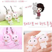 Wholesale Sweet Cute Pet Pig Rabbit Mobile Chain Lovers Cell phone Charms