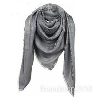 Wholesale new brand woman s lady s girls silver grey gray silk scarf monogram wraps silk
