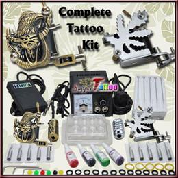 Complete Beginner Tattoo Kit 2 Machine Gun Power 4 color tattoo Inks Set Beginner Use