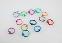 Wholesale WholesaleTitanium Anodized Belly Ring Fancy ball closure ring multicolor Labret Ring Free