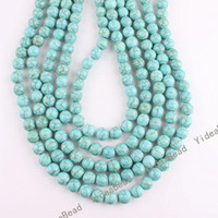 Wholesale 100pcs Bulk Round Gemstone Natural Turquoise Dyed Beads MM Fit Bracelets Necklaces DIY