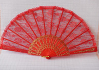 Wholesale 10pcs lovely red Gothic lolita ladies lace hand Fan gold detail Elegant dance Fans for party show colorful H124R