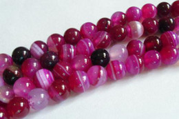 To win warm praise from customers 10mm Pink Stripe Agate Onyx Gem Round Loose Bead 15''