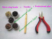 achat en gros de pince à cheveux plume-Des trousses d'outils pour Plume Extension, 1 pcs Pince + 1pcs aiguilles + 500pcs micro perles anneau! mélanger Outils couleurs de cheveux