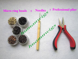 Wholesale Tool kits for Feather Extension plier needles micro ring beads mix colors Hair Tools