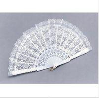 Hand Fans white hand fans - 50pcs NEW wedding WHITE LACE FAN Hand Fans FANCY DRESS GEISHA SPANISH LADY h124