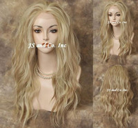 Wholesale LACE FRONT WIG Heat Safe Pale Blonde Mix Long Wavy ladies sexy fashion long hair front lace wigs