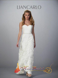 Wholesale Hot Sale Simple Anke length Chiffon Strapless White wedding dresses Gown