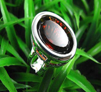 Wholesale Gorgeous jewelry Authentic Silver Oval Garnet Quartz rings womens gemstone rings