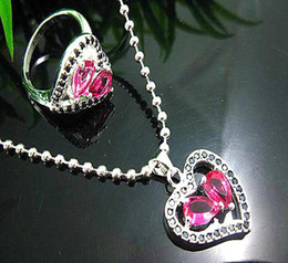 Gorgeous jewelry fashion Ruby gemstone 925 Silver heart charm necklace rings jewelry set