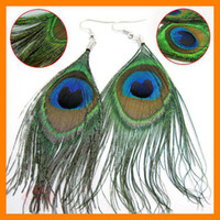 Wholesale Womens Peacock Feather Pierced Earrings Real Feather Hot selling Fashion Earing pairs