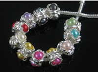 Wholesale Imitation pearl flower Silver Beads bracele alloy for DIY Bracelets anklets Hole MM
