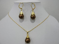Wholesale Nobby Chocolate Pearl gold plated Pendant Necklace Earring