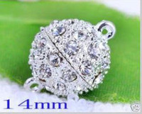 Wholesale DIY Metal mm Plated silver Crystal Magnetic Clasps jewelry Rhinestone Magnetic Clasps