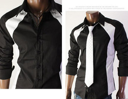 Wholesale Slim mosaic design long sleeved shirt Men s shirt line Point shirt White amp Black
