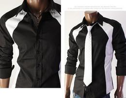 Wholesale Slim mosaic design long sleeved shirt Men s shirt line Point shirt White amp Black