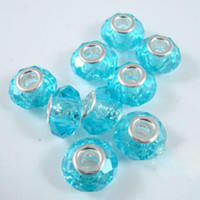 14mm Fused Glass Blue DIY Charm Beads 14mm Round Big Hole Glass blue Crystal Faceted Crystal European Beads jewelry 100pcs