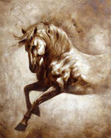 Cheap Wholesale-Oil Wall Art,handpainted,Wall Canvas Art,Modern Abstract Horse Oil Painting :AN#005