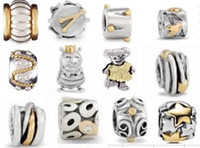 Wholesale 925 silver pandro beads charms two color beads Fit silver Bracelet dropship TB001