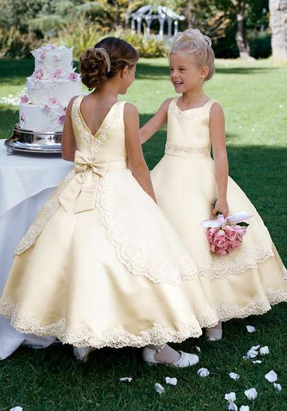 Embroidery taffeta new style floor length flower girl dress dance gown