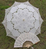 Wholesale 4pcs ivory wedding full batten Lolita costume victorian LACE umbrella parasol and Fan handmade