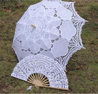 Wholesale palace design wedding full batten Lolita costume victorian LACE umbrella parasol and Fan handmade