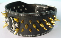 Wholesale 3pcs Leather Dog Collars Spiked quot Pit Bull quot quot Amstaff Black Green Color