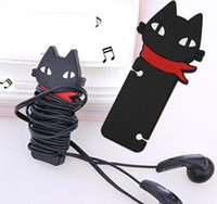 Wholesale Cute black cat wrap cable wire tidy earphone winder Organizer holder for headphone MP3 MP4