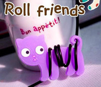 PVC big cute headphones - Cute big eye purple cat wrap cable wire tidy earphone winder Organizer holder for headphone