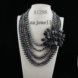 Wholesale A1298#Woman's jewellery black lava Fresh Water Pearl Necklace hot sale flower necklace