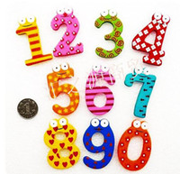 Wooden Colorful Cartoon Fridge Magnets alphabet number magnets - figures number set Wooden Fridge Magnets Refrigerator sticker kids educational toys