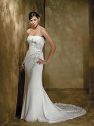 Wholesale 2011 Destination Wedding Dresses Strapless Lace Applique Chiffon Sweep Train