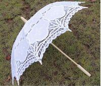 Hand Fans lace parasol umbrella - 2pcs white wedding full batten Lolita costume victorian LACE umbrella wooden parasol party colors