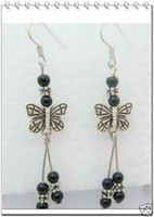 Wholesale Beauty Tibet Silver Black Emerald Butterfly Earrings