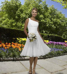 Wholesale 2012 New Chiffon One shoulder A line Short Informal White Wedding Dresseses Beach Bridal Gowns
