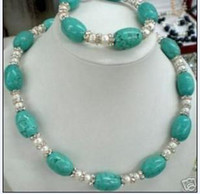 Wholesale Noblest Cultured Pearl and Turquoise Necklace Bracelet