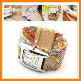 8 pcs per lot korea rope watch woven cracked leather band wide belt watch rainbow watch