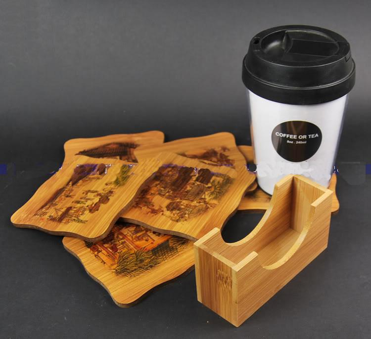 2017 Unique Bamboo Painted Coaster Glass Cup Mat Cup Pad