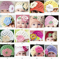 Wholesale Crochet baby girl colorful beanies handmade Y children s caps big flower cotton yarn