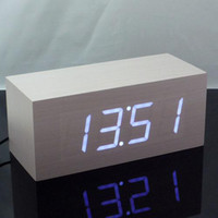 Wholesale Digital LED White Wooden Wood Alarm Clock Modern Retro Destop Clock
