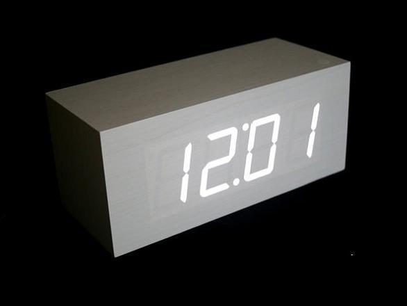 Best Digital Led White Wooden Wood Alarm Clock Modern