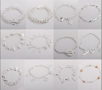 Wholesale Mixed order multi different style Fashion Bracelet Hot sale silver Jewelry For Xmas Gift