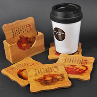 Wholesale Novelty Bamboo Coffee Table Coasters Set Eco Friendly Beverage Coaster Square Printed Mat with Gift Box Sets pack set Free