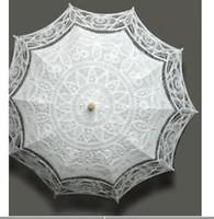 Parasols victorian parasol - vintage palace style Ivory Black White cotton SUN BATTEN victorian LACE PARASOL UMBRELLA WEDDING H108