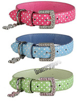 Wholesale cystal buckle spoty leather dog collar inchx14 inch