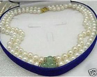 Wholesale store GENUINE MM WHITE PEARL amp GREEN JADE NECKLACE