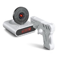 Wholesale Unique quot LCD Laser Gun Target Shooting Alarm desk Clock Set