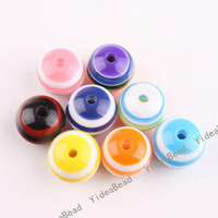 Wholesale 500 Round Acrylic Striped Resin Spacer Charms Beads Colorful Diy Ball Bead Fit Bracelets mm